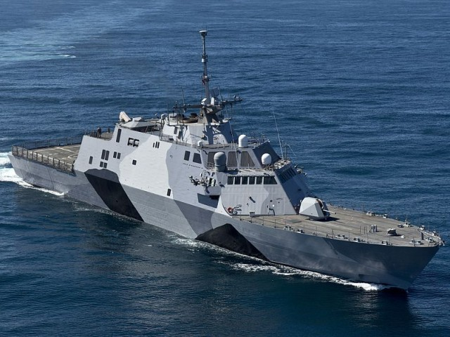 The USS <i>Freedom</i> (LCS-1), designed by Lockheed Martin... or perhaps by a jilted British designer who is pressing IP theft claims against the Navy.
