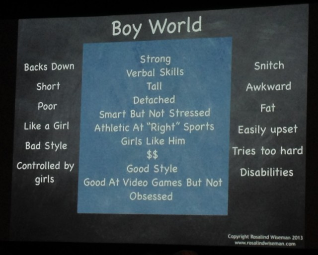 "A slide showing which traits were considered ""strong"" (inside the box) and which ones were not."