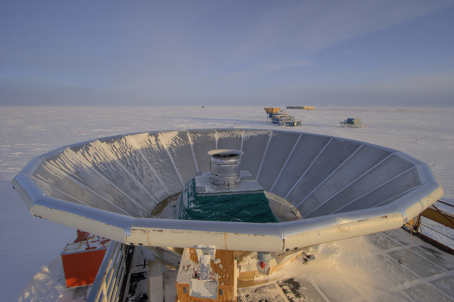 The BICEP (Background Imaging of Cosmic Extragalactic Polarization) telescope at the South Pole, designed to measure polarized light from the early Universe.