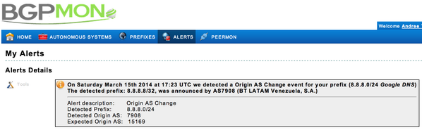 BGPMon's alert on the detection of the change to the route to Google's primary DNS server.
