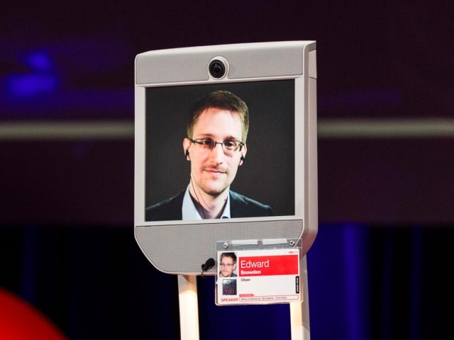 Snowden on stage at the TED 2014 conference in Vancouver on Tuesday.