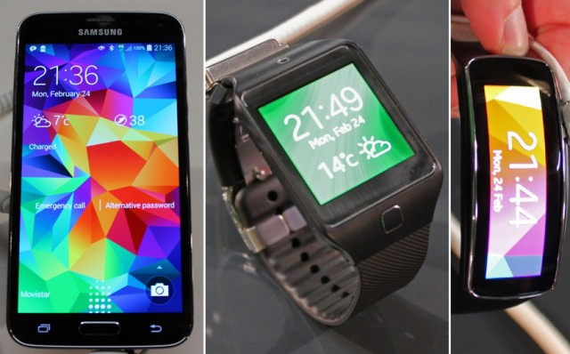 The Galaxy S5, Gear 2, and Gear Fit.