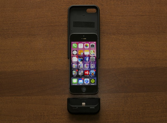 The case slides on to your iPhone 5 or 5S. Pull the two parts back apart to get the phone out of the case.