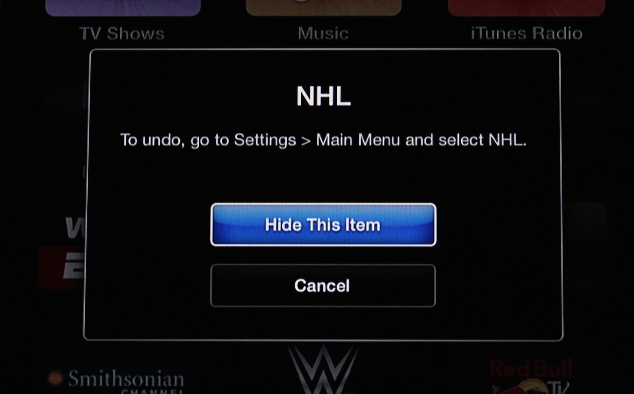 Hiding unwanted channels from your Apple TV's interface is now an option.