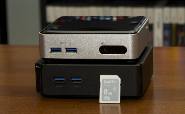 The Asus Chromebox (bottom) is a mini desktop molded in the image of Intel's NUC.