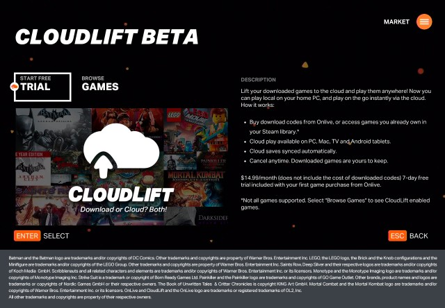 An explanation of the new CloudLift subscription option from OnLive.