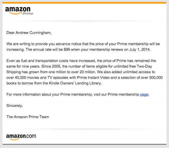 Prime is going up $20 a year, starting now.