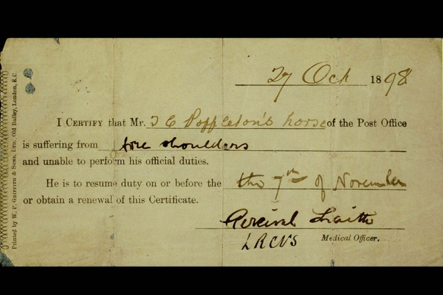 Sick Note for Mr Poppleton's Horse, 1898.