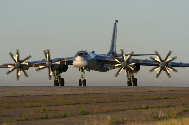 An active-duty Tu-95MS at Russia's Engels Air Force Base.