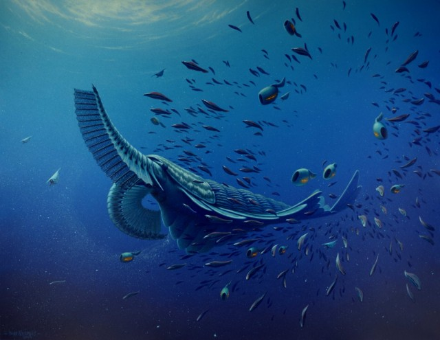 Artist's conception of <em>Tamisiocaris borealis</em> lunching, with one front appendage filtering plankton from the water and the other bringing the catch to its mouth.
