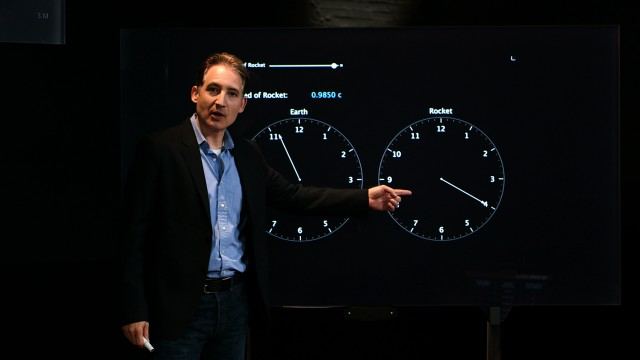 An interactive demonstration of relativistic time dilation, done as part of the online class on relativity.