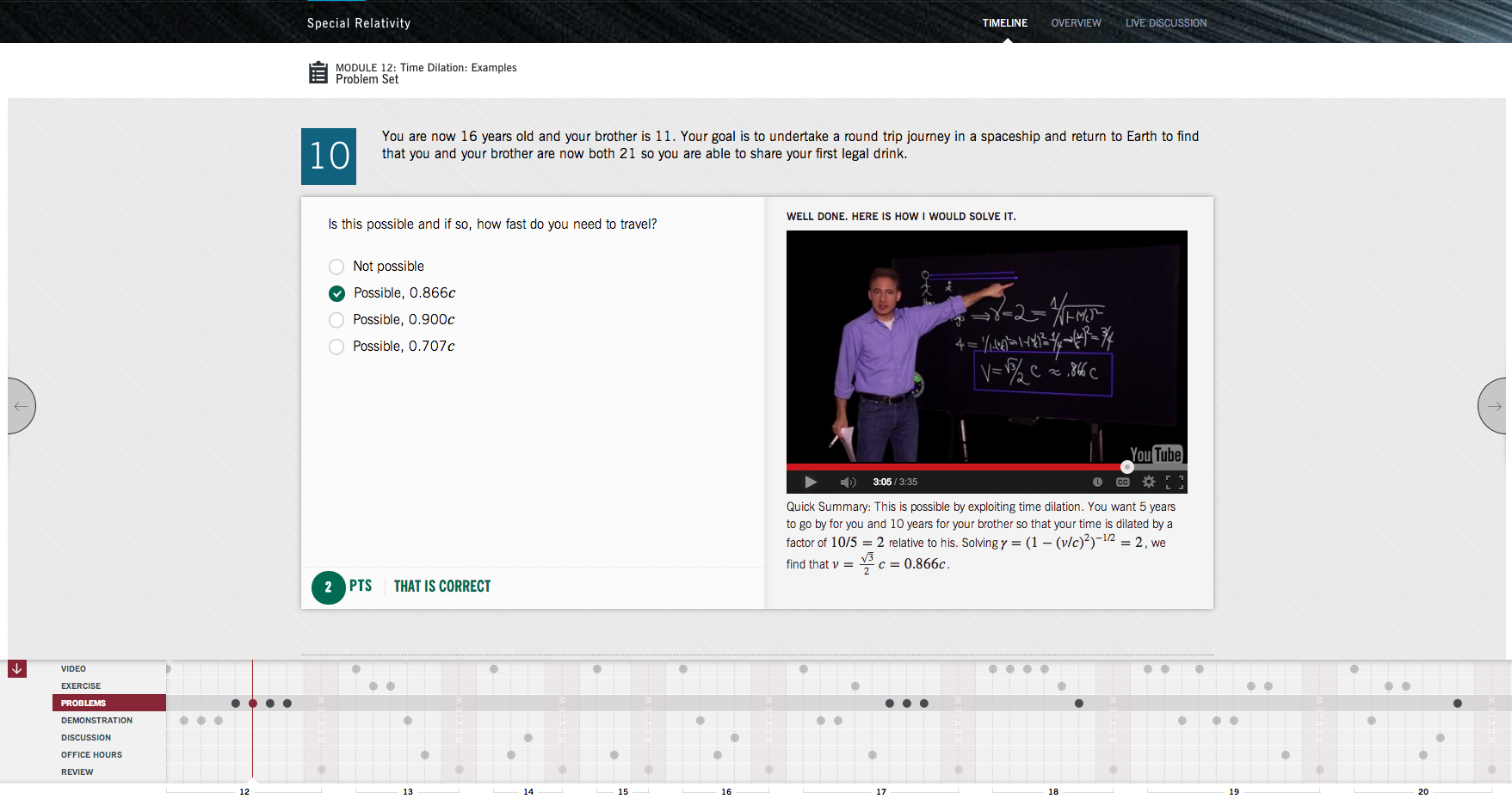 The website's timeline view lets you track your progress through all the modules of a course.