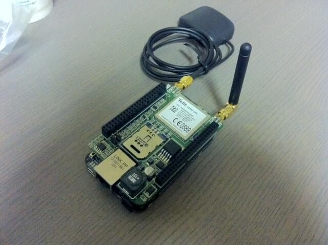 "A BeagleBone card with ""cape"" that gives it GPS and GSM/GPRS capabilities."