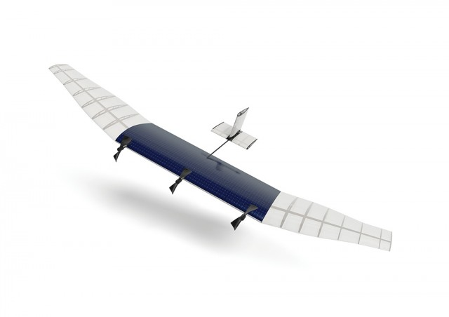 A mockup of the HALE aircraft that could beam connectivity to the ground from 20 kilometers up in the sky.