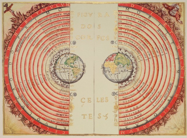 An illustration of the Ptolemaic geocentric system by Portuguese cosmographer and cartographer Bartolomeu Velho, 1568.