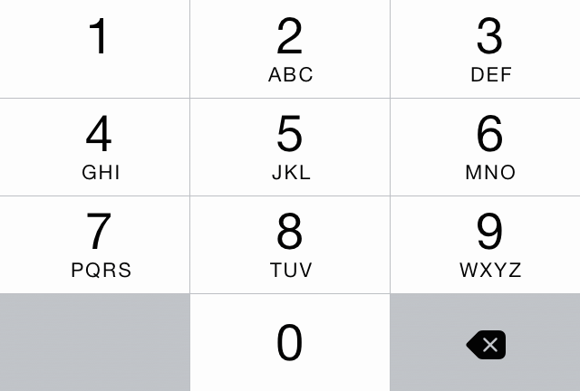 Number pad in iOS 7.1.
