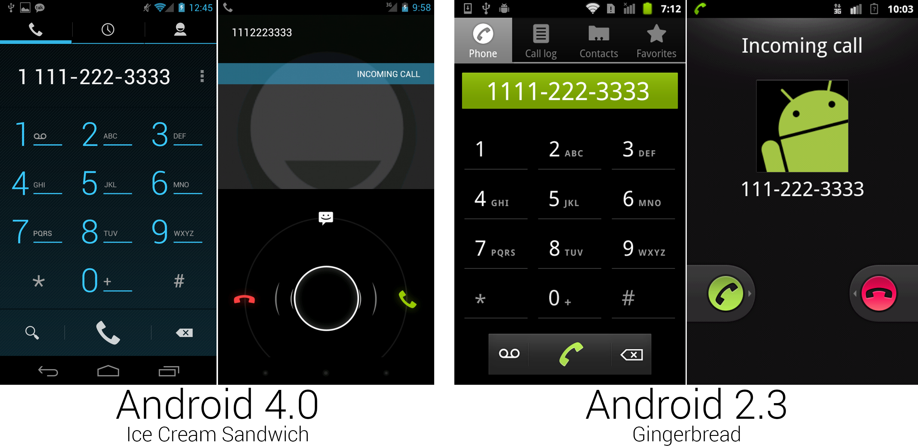 The new dialer and the incoming call screen, both of which we haven't seen since Gingerbread.