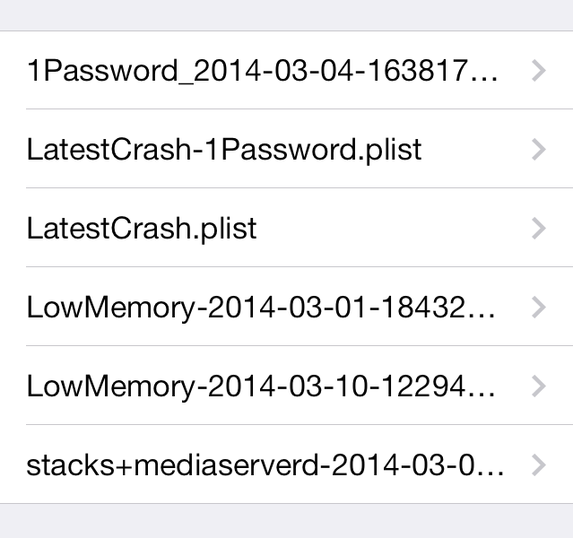 Crash log from iPhone 5S.