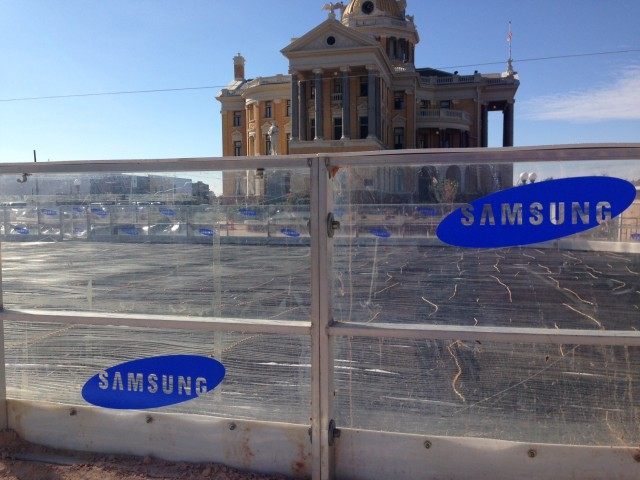 Winter ice rink in Marshall, Texas. The historic county courthouse is in the background.