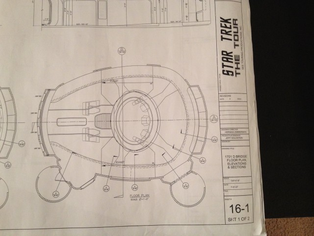 This is one of the blueprints from <em>Star Trek: The Experience</em> that Huddleston also rescued.