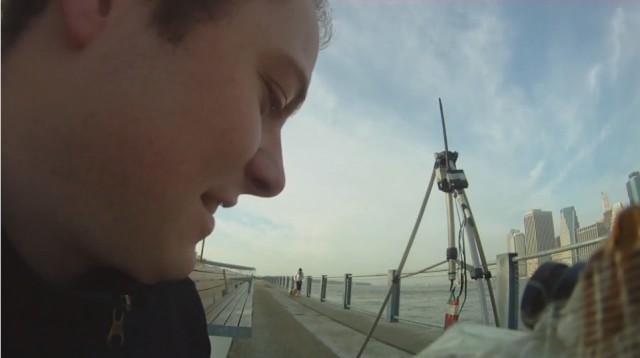 "Raphael Pirker prepares to launch his ""FPV"" remote controlled plane in New York City in a video he posted in 2010."