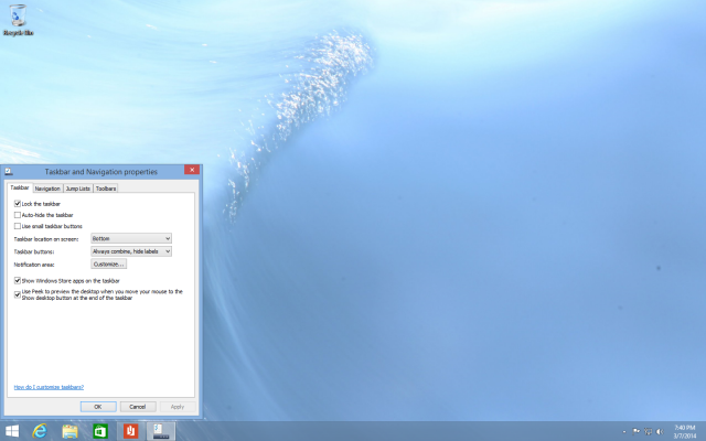 Metro apps are now on the taskbar by default, though you can disable this if you prefer.