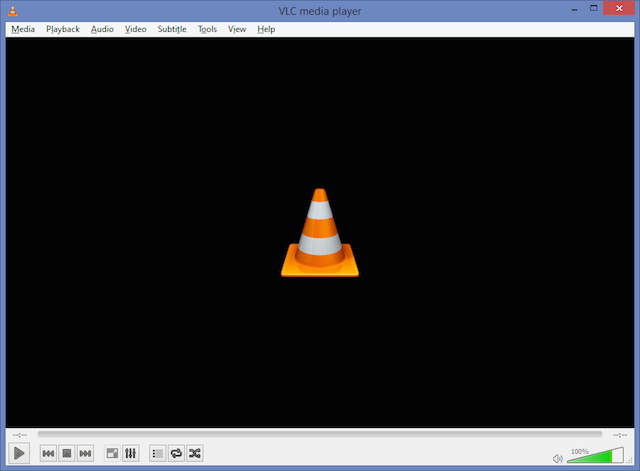 VLC at standard, 100 percent scaling. The title bar, menus, and playback controls are all similarly sized.