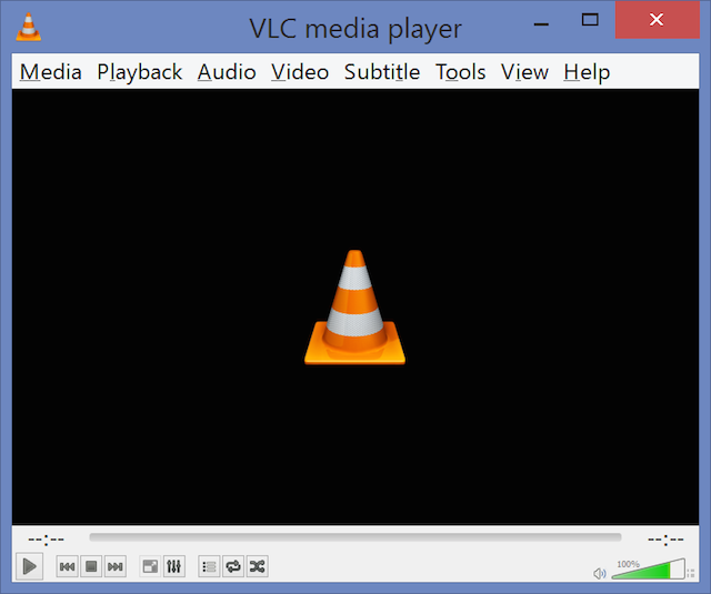 VLC at 200 percent. The title bar and the menus have scaled properly, but the playback controls are exactly the same size.