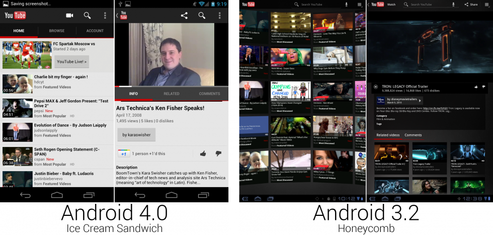 YouTube switched to a more modern white theme and used a list view instead of the crazy 3D scrolling wall of thumbnails.