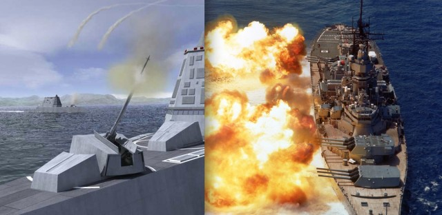 The Advanced Gun System, left, is intended to take on the role of the battleship's 16-inch guns, right.  Aside from its GPS-guided shell, the digital technology of the AGS's fire control system does exactly what the USS Iowa's Rangekeeper Mark 8 did—just with fewer people and less weight.