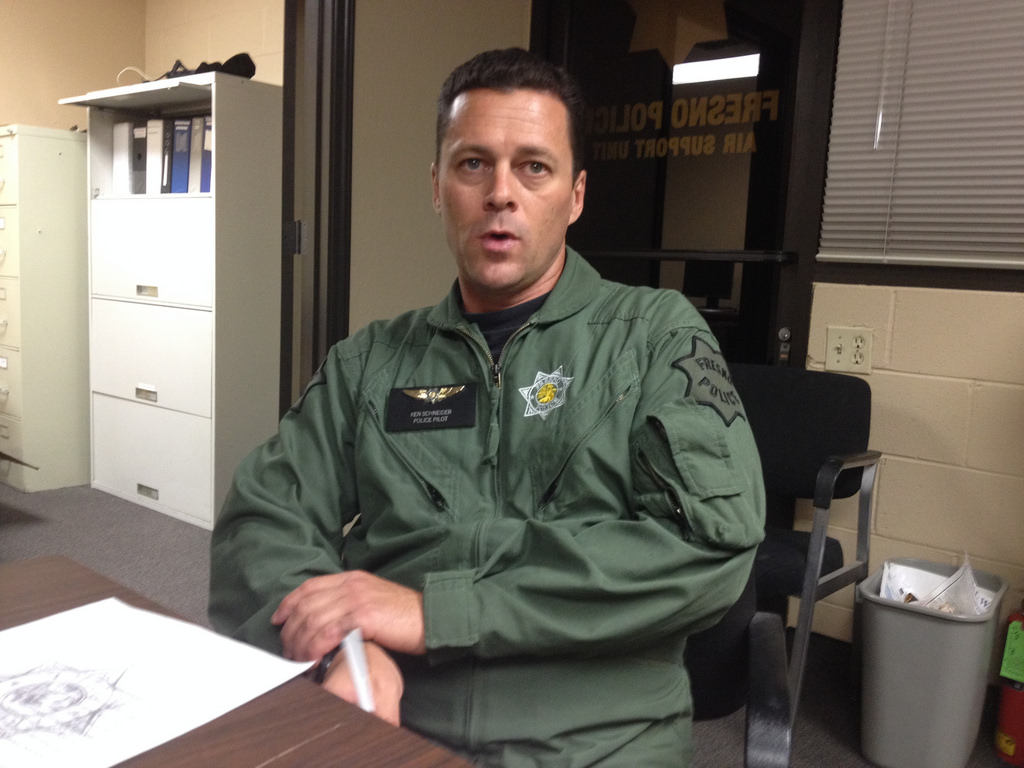 Officer Ken Schneider is a helicopter pilot with the Fresno Police Department.