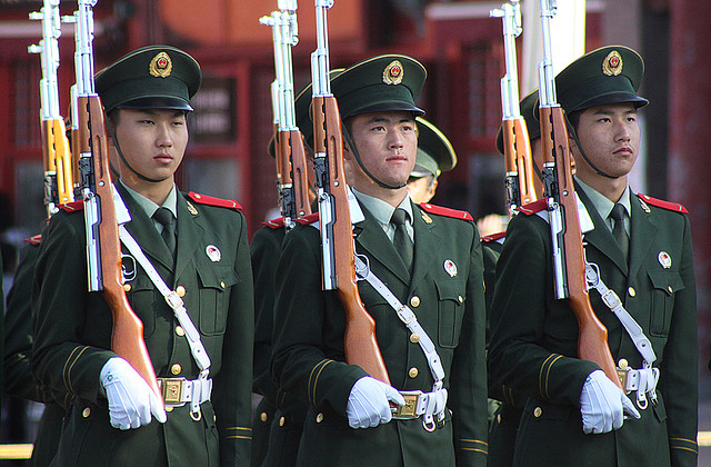 Chinese soldiers in Beijing.
