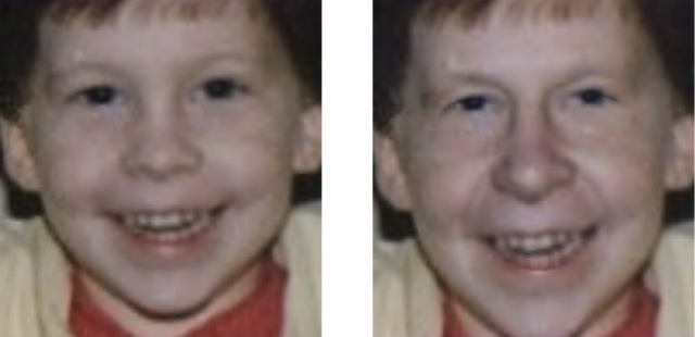 "Our once-cute author, seen here at the ages of 3 and ""roughly 60,"" according to a University of Washington age-progression application. Still holding on to those baby teeth, apparently!"