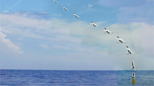 A time-lapse image of the launch of the eXperimental Fuel Cell (XFC) Unmanned Aerial System from a submarine. DARPA is hoping to give the Navy the ability to seed the sea floor with airborne and floating drones that launch on demand to track enemies and jam and blind their sensors.