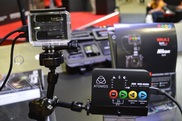 The Atomos Ninja Star at the bottom right, connected to a GoPro.