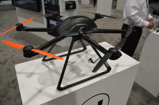 Yuneec Technology had this sleek-looking drone, called Flying Eyes, at the National Broadcasters Association conference in Spring 2014. It comes fully assembled for those who just need aerial images, not a weekend project.