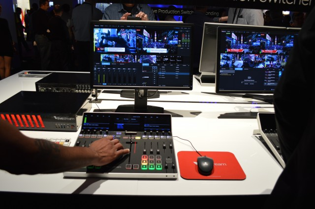 The Livestream Studio Surface controlling a number of video streams.