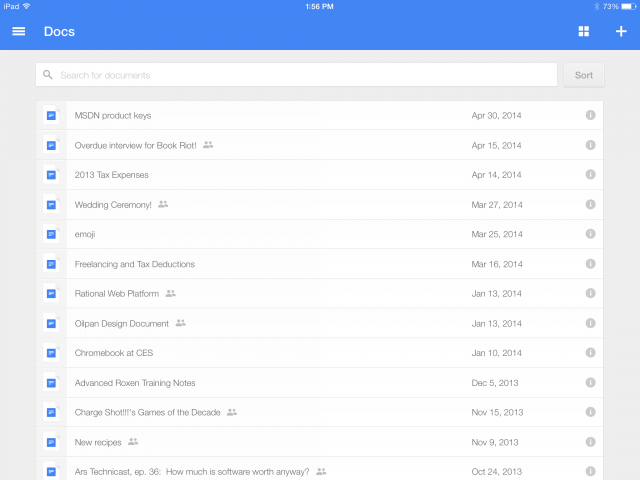 The iPad version of the new, standalone Google Docs app. It takes most of its cues from Google Drive.