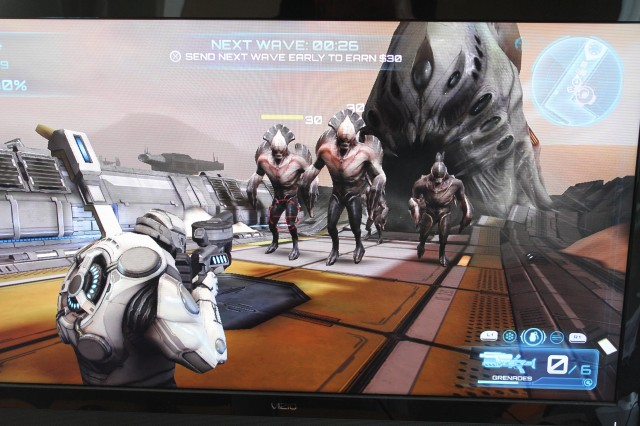 This off-screen photo of <em>Sev Zero</em> doesn't exactly show off the game's 720p rendering or its lack of anti-aliasing, but it does have some generic alien-bug-men hanging out.