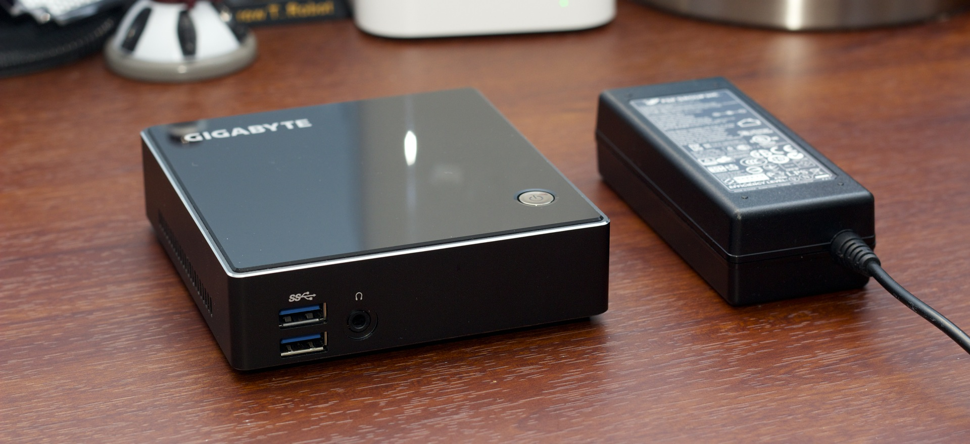 Like most other mini PCs, the Brix is a tiny box with a small external power supply.