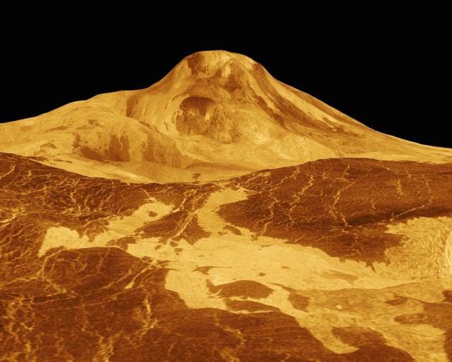Maat Mons, one of Venus' volcanoes. The planet is clearly geologically active, but hasn't developed plate tectonics.