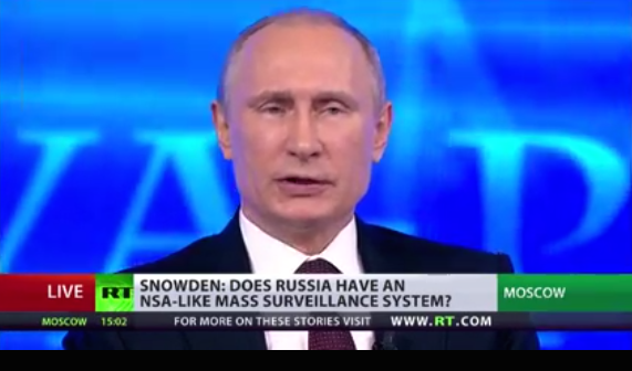 Screenshot from Putin's televised call-in session.