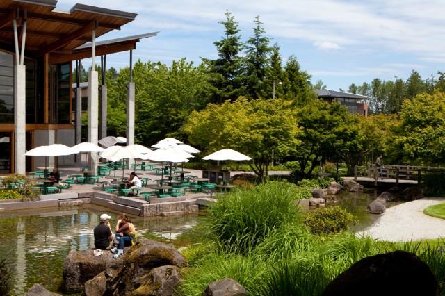 Microsoft's lush RedWest campus.
