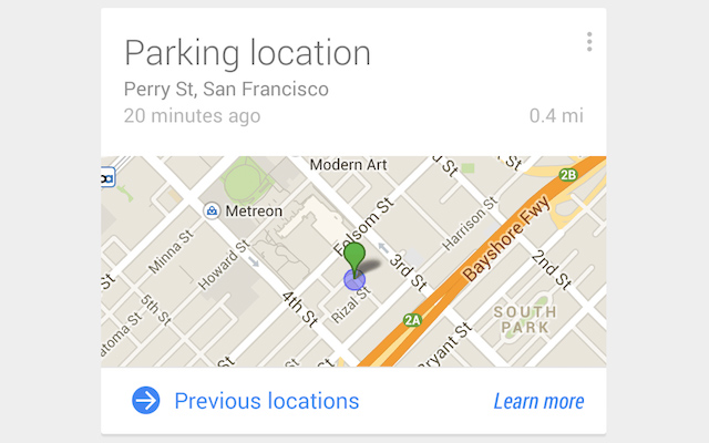 Google Now for Android will automatically remember where you parked