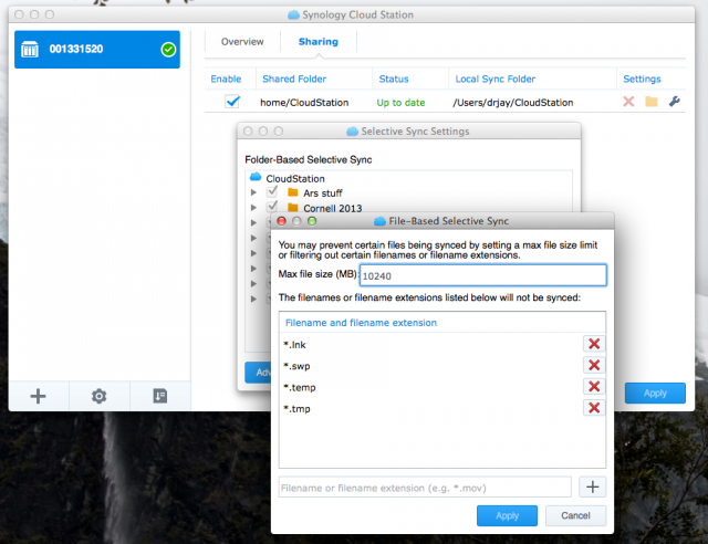 Synology's client software gives you fine-grained control over which folders, and what file types within them, get synched back to the NAS.