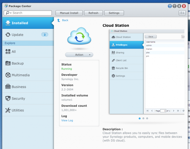 "Cloud Station is available as an optional package that can be installed via Synology's equivalent of an ""app store."""