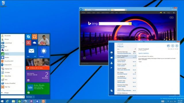 A Modern app running in a window on the desktop (right), and the new Live Tile-packed Windows 8.1 Start menu that will be available in a future update.