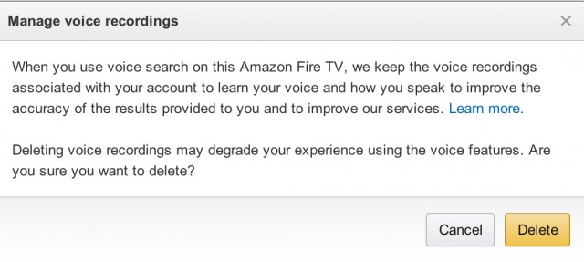 Amazon allows Fire TV users to delete their voice recordings