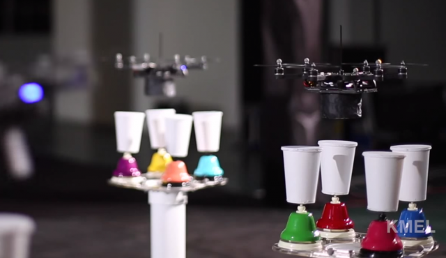 <em>Carol of the Bells</em> is nothing without the bells. KMel Robotics' demonstration proves that the song needs a fleet of flying robots tapping a bunch of bell-connected paper cups, as well!