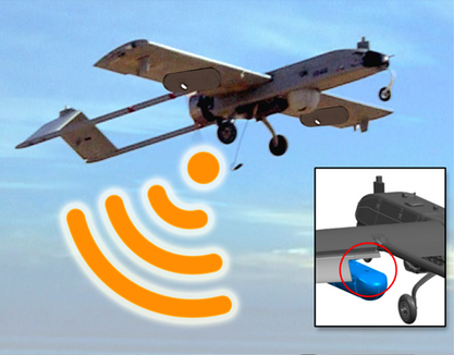 Drone retrofitted with a DARPA mobile hotspot unit.